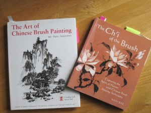 "The Self book on the left has ten pages on painting pine; the one on the right provides details on painting the ""ballerina skirt'  kind of needle clusters."