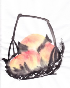 My first basket of peaches in the Qi Baishi manner.