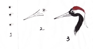 Steps 1-3 for painting crane; notice how the eye is positioned immediately behind the beak.